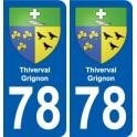 78 Thiverval-Grignon blason autocollant plaque stickers ville