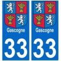 33 gascogne autocollant plaque