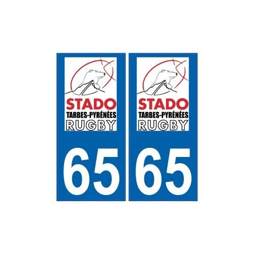 Autocollant personnalisé sur sa plaque d'immatriculation 65-tarbes-rugby-autocollant-plaque-stado