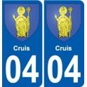 04 Cruis blason autocollant plaque stickers ville