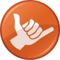 Autocollant shaka orange main sticker logo