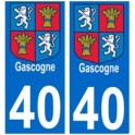 40 Gascogne autocollant plaque