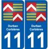 11 Durban-Corbières blason autocollant plaque stickers ville