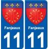11 Fanjeaux blason autocollant plaque stickers ville