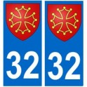 32 Occitan autocollant plaque