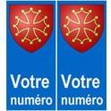 Occitan numéro choix autocollant plaque