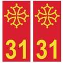 31 Occitan fond rouge autocollant plaque