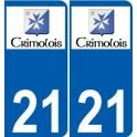21 Crimolois logo autocollant plaque stickers ville