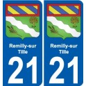 21 Remilly-sur-Tille blason autocollant plaque stickers ville
