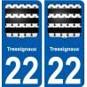22 Tressignaux blason autocollant plaque stickers ville