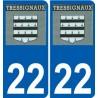 22 Tressignaux logo autocollant plaque stickers ville
