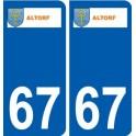 67 Altorf logo autocollant plaque immatriculation stickers ville