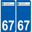 67 Hindisheim coat of arms sticker plate stickers city