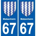 67 Matzenheim coat of arms sticker plate stickers city