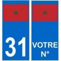 Maroc numéro choix autocollant plaque