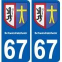 67 Schwindratzheim coat of arms sticker plate stickers city