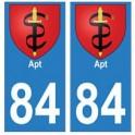 84 Apt autocollant plaque