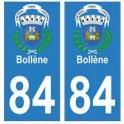 84 Bollène blason ville autocollant plaque