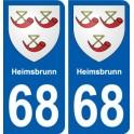 68 Heimsbrunn blason autocollant plaque stickers ville