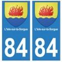 84 Isle-sur-la-Sorgue blason ville autocollant plaque