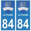 84 Le Pontet blason ville autocollant plaque