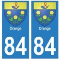 84 Orange blason ville autocollant plaque