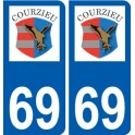 69 Courzieu coat of arms sticker plate stickers city