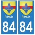 84 Pertuis blason ville autocollant plaque