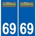 69 Grandris coat of arms sticker plate stickers city