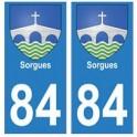 84 Sorgues blason ville autocollant plaque