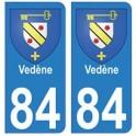 84 Vedène blason ville autocollant plaque