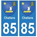 85 Challans ville autocollant plaque blason armoiries stickers département