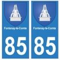 85 Fontenay-le-Comte ville autocollant plaque blason