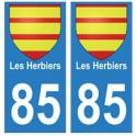 85 Les Herbiers ville autocollant plaque blason