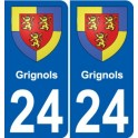 24 Grignols coat of arms sticker plate stickers city