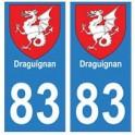 83 Draguignan autocollant plaque immatriculation ville
