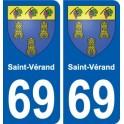 69 Saint-Vérand stemma adesivo piastra adesivi città