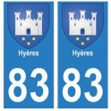 83 Hyères autocollant plaque immatriculation ville