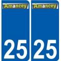 25 Amancey logo autocollant plaque stickers ville
