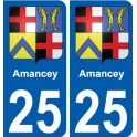 25 Amancey coat of arms sticker plate stickers city