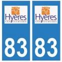 83 Hyères logo autocollant plaque immatriculation ville