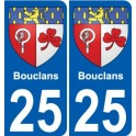 25 Bouclans blason autocollant plaque stickers ville