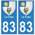 83 La Crau autocollant plaque immatriculation ville