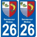 26 Serves-sur-Rhône blason autocollant plaque stickers ville