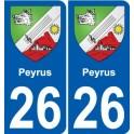 26 Peyrus blason autocollant plaque stickers ville