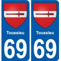 69 Toussieu coat of arms sticker plate stickers city