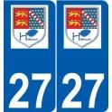 27 Hébécourt logo sticker plate stickers city