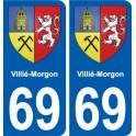 69 Villié-Morgon coat of arms sticker plate stickers city