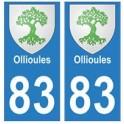 83 Ollioules autocollant plaque immatriculation ville