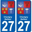 27 Chavigny-Bailleul coat of arms sticker plate stickers city